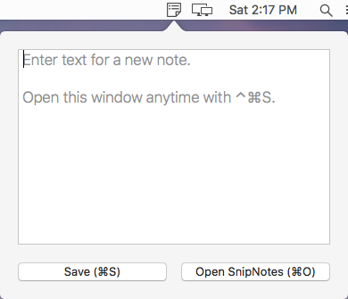 SnipNotes for menu bar